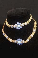 Matching Set Macrame Bracelet Necklace Blue Beads