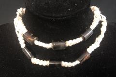 2 Macrame Wht Shell Flower Beaded Blk Wood Bracelets Anklets Made In Philippines