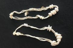 Set of 2 Macrame Hemp White Round Shells Bracelets Anklets Made In Philippines