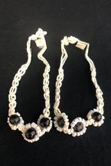 Set of 2 Macrame White Shell Flower Beaded Bracelets Anklets Made In Philippines