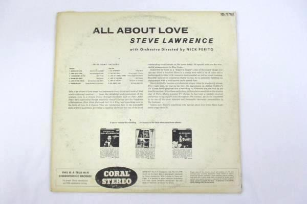 """Steve Lawrence """"All About Love"""" 1958 12"""" Vinyl 33 RPM LP Records Jazz"""