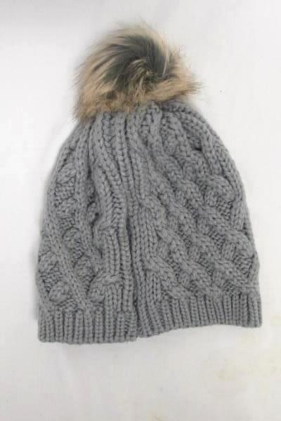 Knitted Beanie Distributed by Walgreens Gray w/ Brown and Blonde Pom Pom On Top