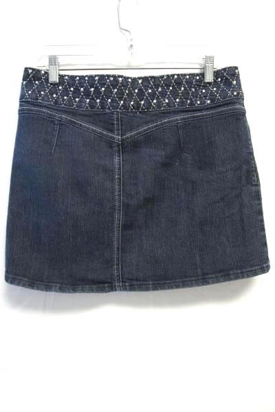 Sparkled Jeweled Jean Denim Skirt By JZ Premium Navy Blue Junior Girls Size 11