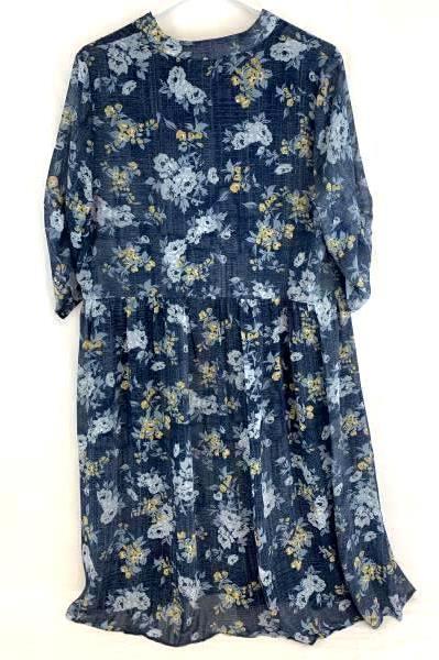 Michel Studio Collection Women's Blue & Yellow Floral Key Hole Tie V-Neck Sz 16