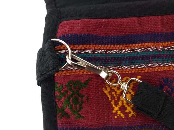 NEW Large Boho Festival Guatemalan Hand Woven Mochila Crossbody Bag Burgundy Red