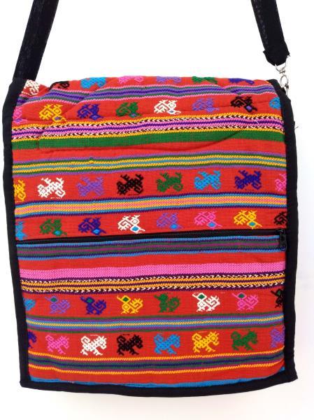 Red Festival Guatemalan Hand Woven Tribal Boho Mochila Crossbody Bag Large NEW