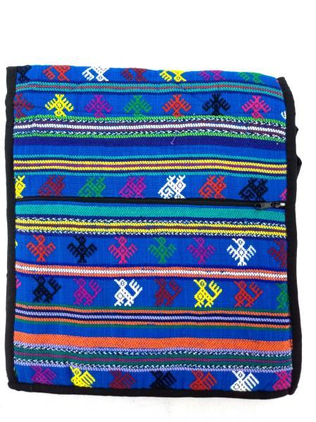 NEW Blue Boho Tribal Guatemalan Hand Woven Mochila Crossbody Bag Large