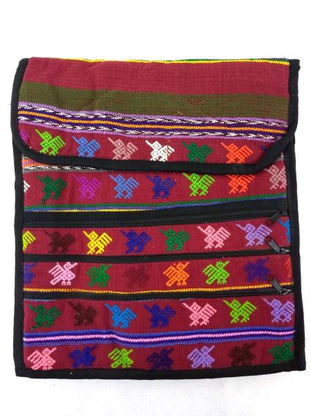 Large Red / Mulitcolor Guatemalan Hand Woven Boho Mochila Crossbody Bag Large