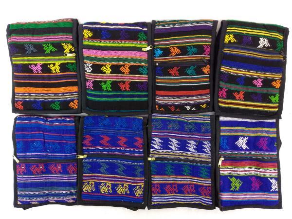 8pc Lot: 90's Blue / Black Tribal Guatemalan Mochila SMALL Crossbody Bags NEW