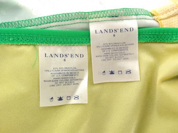 LAND'S END Green Geo Dot Tankini Top & Bottom Swim Set Womens Sz 6