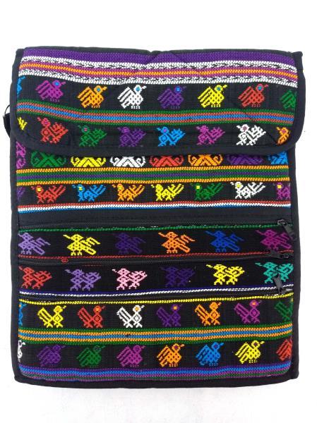 NEW Black 90s Guatemalan Hand Woven Boho Festival Mochila LARGE Crossbody Bag