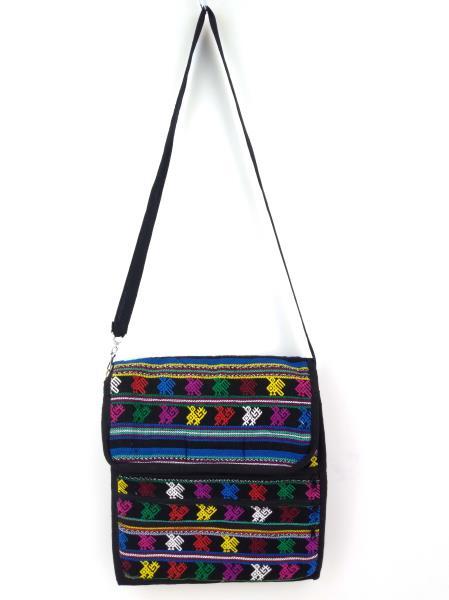 New Black 90s Guatemalan Hand Woven Mochila LARGE Crossbody Bag CONCERNED CRAFTS