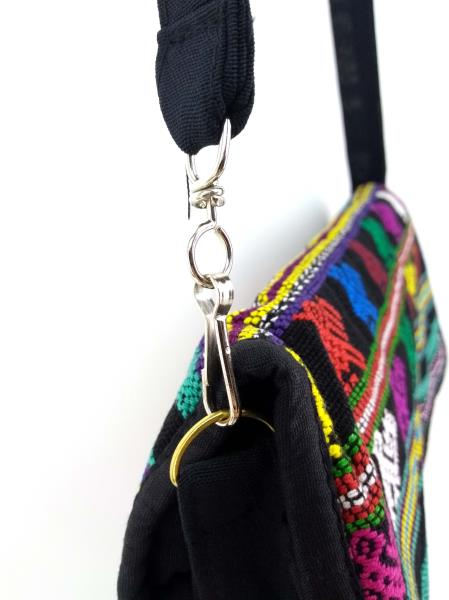 Guatemalan Hand Woven Mochila Crossbody Bag Large CONCERNED CRAFTS NOS Black #D
