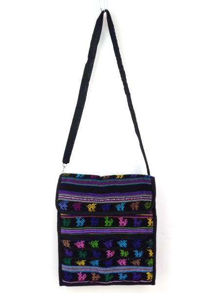 Guatemalan Hand Woven Mochila Crossbody Bag Large CONCERNED CRAFTS NOS Black #F