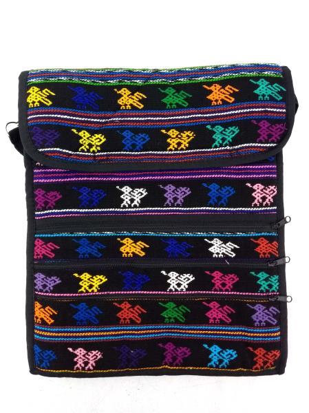 NEW Lg Travel Crossbody Bag Black Boho Festival Guatemalan Hand Woven Mochila