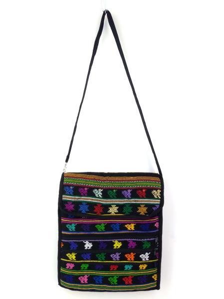 Guatemalan Hand Woven Mochila Crossbody Bag Large CONCERNED CRAFTS NOS Black #K
