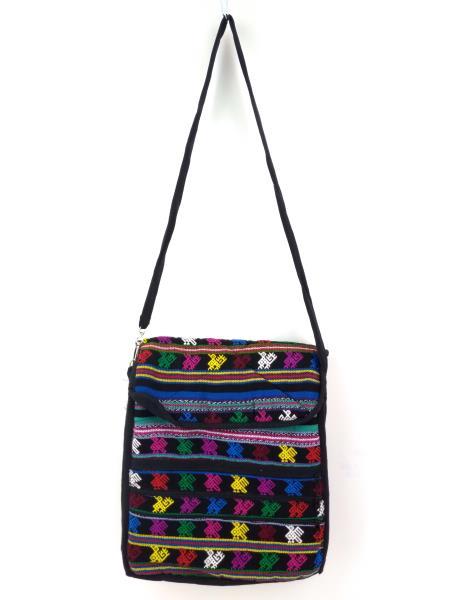 NEW Black 90s Guatemalan Hand Woven Boho Mochila Large Crossbody Bag
