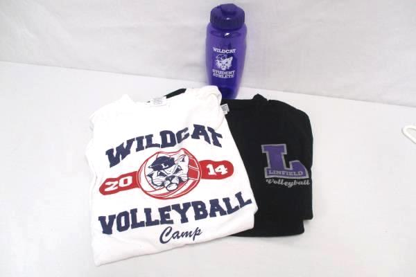 Linfield Wildcat Volleyball Lot: 2 T-Shirts Size M Purple Athlete Water Bottle