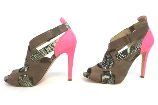 Strappy Hot Pink, Brown, Snake Skin Open Toed Vero Cuoio Heels Size 8.5