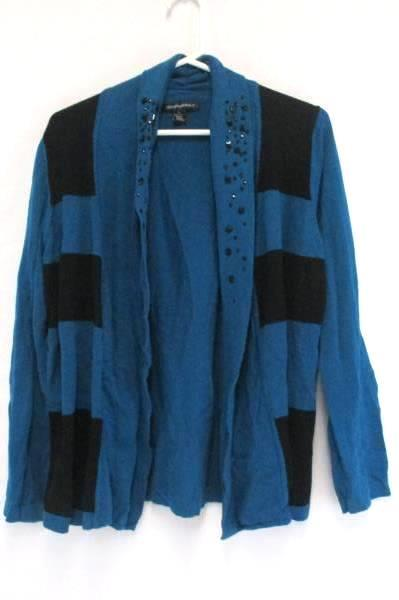 Designer Originals Cardigan Teal Black Striped Knit Sweater Rhinestones Womens L