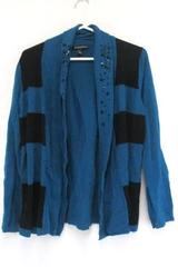 Designer Originals Cardigan Teal Black Striped Knit Sweater Rhinestones Womens L