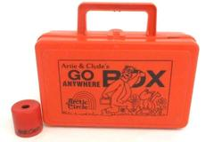Vintage Arctic Circle Go Anywhere Lunch Box Orange Case w/ Toy Monocular