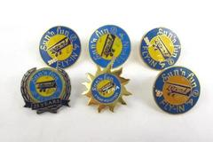 Lot Of 6 EAA Blue And Yellow Enamel  Sun 'N Fun Fly-In Pins Dated 1997-2002