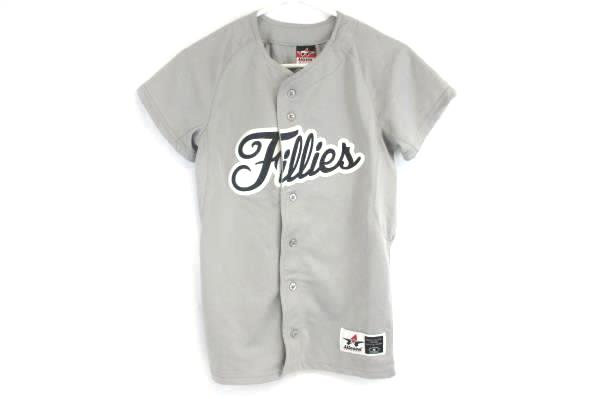 Alleson Athletic Jersey Fillies Grey and Black Women's Small Softball Kellyville