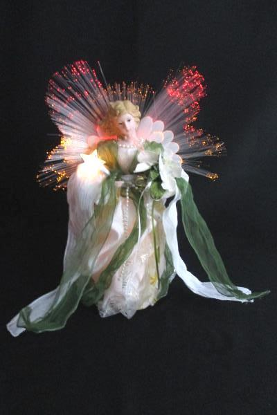 "13"" Fiber Optic Angel Green Cream Gold Holding Star & Flowers Blonde Hair"