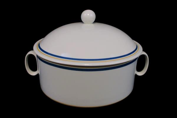 Villeroy & Boch China Carrousel Blue/Gold Bands Double Handle Serving Bowl & Lid
