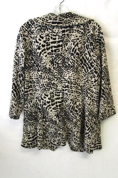 Women's Leopard Cheetah Print Blazer Coat By Calvin Klein Size 10 80% Polyester