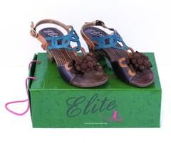 Elite by Corky's Yuma Leather Sandal Heel Women's Size 8 w/Box