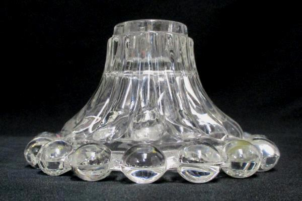 2 Vintage Clear Glass Candle Holders Round Ball Edge