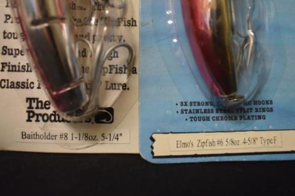 Lot of 2 Fish Hooks #6 Elmo Zipfish & #8 Elmo Baitholder Multicolored