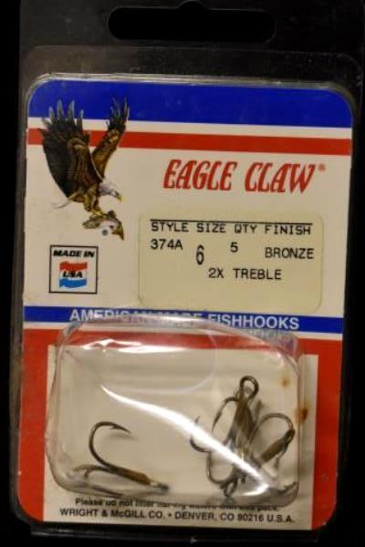 Lot Of 3 Fishing Hooks- Eagle Claw, VMC, Mack's Lure Sizes 6, 4 & 1