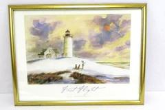 Framed Art Print Poster First Flight by VJ Muraglia Kite Flying Lighthouse Decor