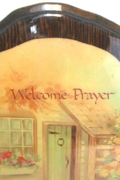 Vintage Laquered Wall Hanging PLAQUE Welcome Prayer Alan Grant