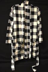 Sweater Old Navy Black White Checker Striped Fleece Black Buffalo Women's M-L