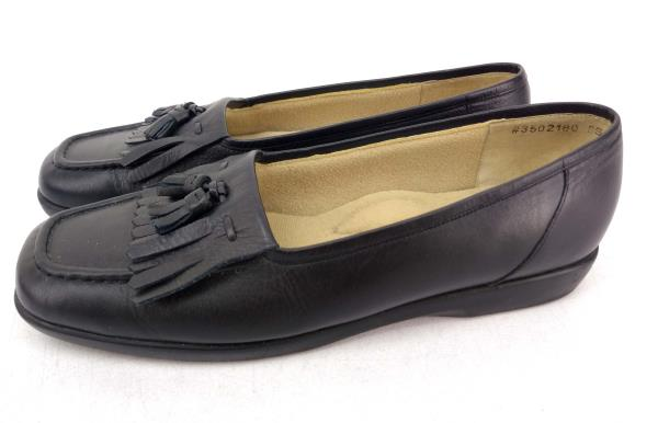 Vtg ROS HOMMERSON Tassel Loafer Shoes Black Leather Slip On Moc Women's 8S