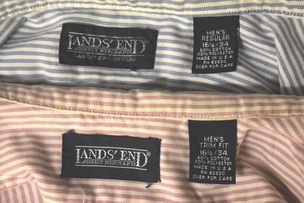 Lot Of 2 Button-Up Dress Shirts LANDS END Pink/Blue Pinstripe Men's 16 1/2-34