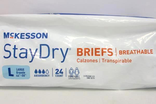McKesson StayDry Breathable Briefs Size Large 24 Count