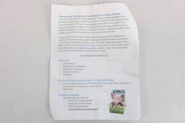 Thermal-Aid Heating & Cooling Pack Tiny the Elephant w/ instructions