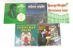 "Lot of 5 Christmas Vinyls 33 RPM 12"" Eddie Fisher Silent Night George Wright"