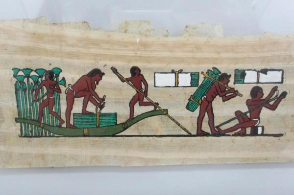 Print On Papyrus Workers Harvesting Papyrus