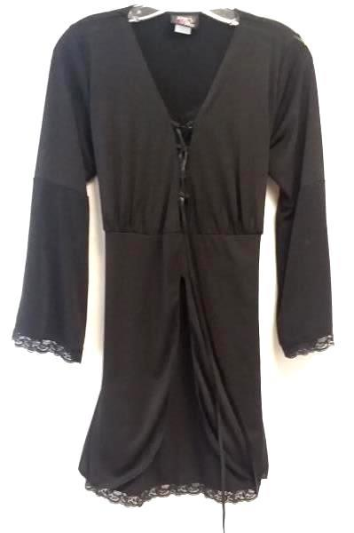 Women's Black Night Long Sleeve Lace Gown By Dare To Wear  Size 1X