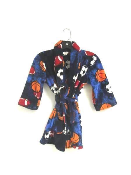 Fuzzy Robe Cherokee Sleepwear Multicolored Sports Ball Pattern Youth Size XS