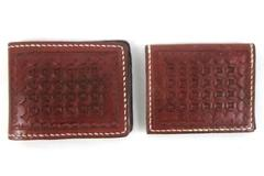 Hand Tooled Leather Wallet Set Embossed Stitched Brown Red Bi-Fold Card Keeper