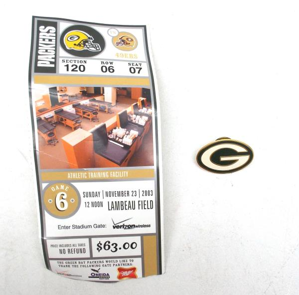 NFL Football Green Bay Packers Lapel Pin Peter David + 2003 Ticket Stub vs 49ers