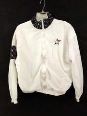 Vtg 90's SPEEDO White Star Print Track Jacket Wind Breaker Women's Small