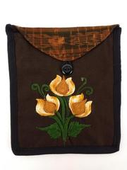 Brown / Orange Guatemalan Embroidered Rose Crossbody Envelope Bag Boho Festival